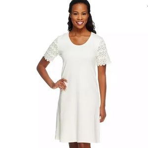Liz Claiborne Cream Lace Sleeve Dress